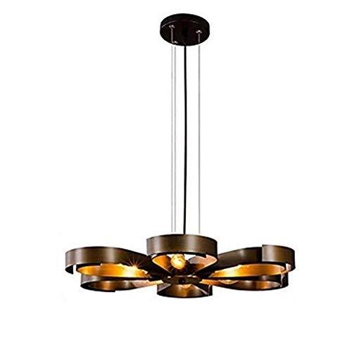 JYDQM Araña-Industrial Ajustable Hierro Forjado Retro Pendiente de la luz de la lámpara Colgante -Cage Accesorio de la lámpara Negro