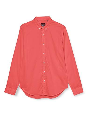 Superdry Herren Classic Twill LITE L/S Shirt Freizeithemd, Orange (Coral 01R), Medium