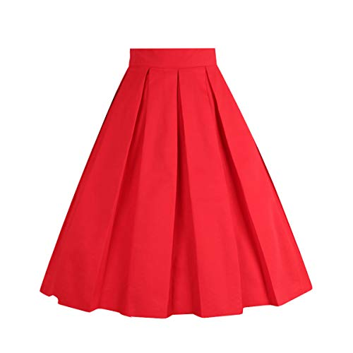 OBBUE Dresstore Vintage Pleated Skirt Floral A-line Printed Midi Skirts with Pockets Red-L