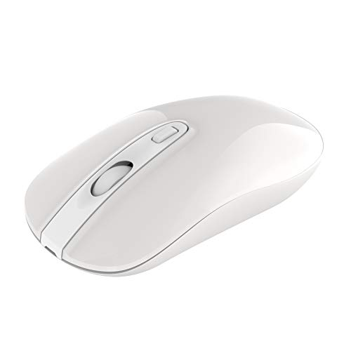 Rechargeable Wireless Mouse, Cimetech 2.4G Computer Mouse Cordless Optical Mice for Laptop, Slim Silent Wireless Mouse with USB Nano Receiver, 5 Adjustable DPI 2400/2000/1600/1200/800 (White)