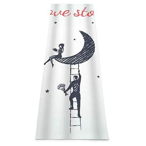 LOSUMIGE Esterilla Yoga Bosquejo Del Concepto Historia Amor Con Niño Niña Flores Subir Escaleras Luna Colchonetas de ejercicio Pilates para entrenamiento en casa Gimnasio Fitness Meditación Alfombra