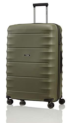 """TITAN Super leichter Hartschalenkoffer """"Highlight"""" in 4 Größen im Carbon Look, Handgepäck mit Vortasche Koffer, 75 cm, 107 Liter, Khaki"""