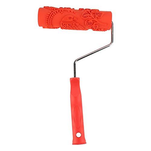 HEEPDD Prägetextur Wanddruck Pinsel, DIY Gemusterte Farbroller Dekorative Gummiwalze mit Kunststoffgriff Relief Roller Werkzeug (Modell EG343T)