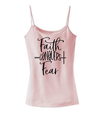 TOOLOUD Faith Conquers Fear Coronavirus Covid 19 Spaghetti Strap Tank Soft Pink Medium