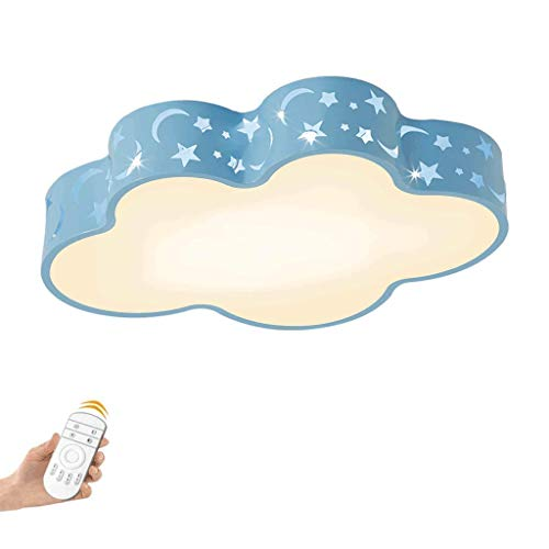 Led-plafondlamp, rond, voor kinderen, plafondlamp, LED, voor kinder-plafondlamp, 10 cm, blauw, met afstandsbediening, baby-plafondlamp, wolk, kinderkamer, kinderkamer, kinderkamer, kleuterschool 48cm Atténuation