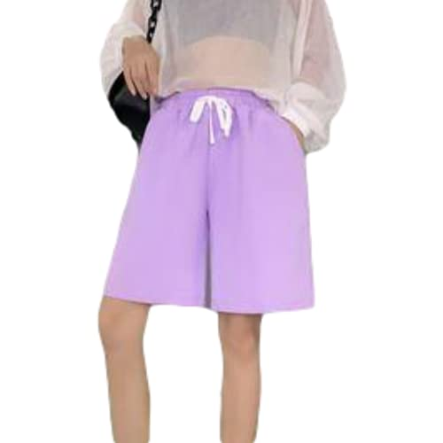 Pantalones Cortos Deportivos Sueltos Casuales para Mujer Pantalones Cortos de Verano con Cordones de Color sólido Cintura elástica Piernas Anchas Cinco Pantalones X-Large