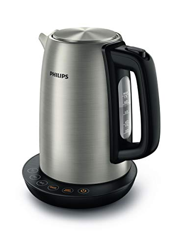 Philips Hervidora Avance Collection HD9359/90 - Hervidora con control de temperatura, metal, 1,7 litros, y tapa con resorte