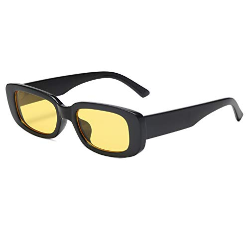 VANLINKER Rechteckige Herren Sonnenbrille UV-Schutz Kleine Breite Retro-Rahmen Mode 90\'s Vintage VL9529 Escape mit Schwarzer Rahmen/Gelbe Linse