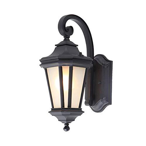 Kooi van metaal, zwart, voor buiten, wandlamp, deur, garage, tuinpaviljoen, decoratief, E27, IP55, waterdicht, (maat: hoogte 34 cm).