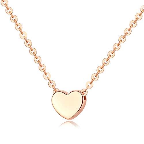 zlw-shop Collar de Mujer En Forma de corazón de 18 Quilates Chapado en Oro Tiny Collar Colgante |Collares de Oro for Las Mujeres Collares Pendientes