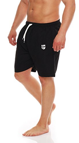 Gennadi Hoppe Herren Badeshorts Badehose Beach Shorts Schwimmshort,schwarz, Large