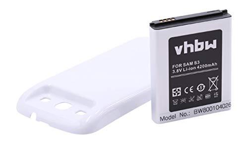Li-Ion batería 4200mAh (3,7 V) Apta para Samsung Galaxy S3, GT-I9300, SGH-T999V, GT-I9305. Sustituye batería: EB-L1G6LLU, EB-L1G6LLUC, EB-L1G6LVA.