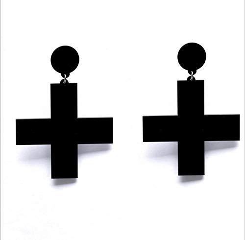NA Pendientes grandes de gota de acrílico en forma de cruz, color rojo, blanco y negro, para mujer, geométricos, simples, cruces, negro