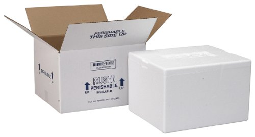 Polar Tech 204C Thermo Chill Insulated Carton with Foam Shipper, Small, 8' Length x 6' Width x 4-1/4' Depth (Case of 3)