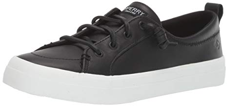 Sperry Womens Crest Vibe Leather Sneaker, Black, 8.5