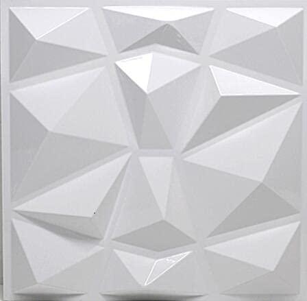 3D Wandpaneel Texturen Wandfliesen Wasserdichter Wandaufkleber Selbstklebende Ziegelsteinschale Dekorative Deckenpaneele für Wohnzimmer Schlafzimmer Lobby Büro 12pcs 3sqm-Diamond