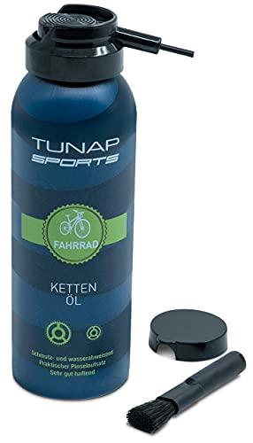 TUNAP SPORTS Kettenöl Spray und Dosier-Pinsel, 125 ml | Fahrrad Langzeit-Schmierung für Ritzel, Schaltwerk und Kette (Vers.2019)