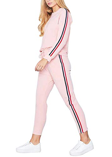 Women's Stripe 2 Pieces Outfits Long Sleeve Sweatshirt and Long Pants Sweatsuits...