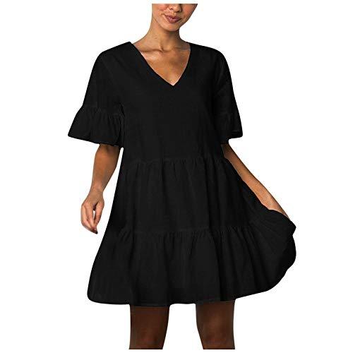 Vestidos de Verano para Mujer con Cuello en V Moda Sin Mangas Plisado Minifalda Vestido Falda de Playa Vestido de Talla Grande