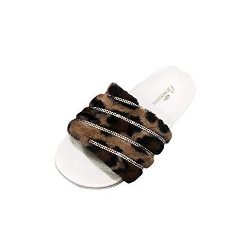 Xmiral Damen Hausschuhe Leopard Strass Dekoration Home Slippers Mode Behaart Sommerschuhe(38,Weiß)
