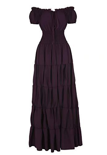 renacentista Vestido Medieval Mujer Vintage Victoriano gotico Manga Larga de Llamarada Disfraz Princesa Púrpura m