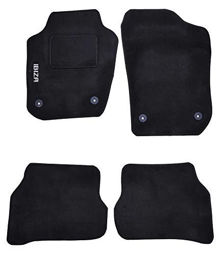 Lupex Shop TPMIS4FIX 14 Alfombrillas de Coche con Logotipo para Seat Ibiza del 2014 con 4 Clips