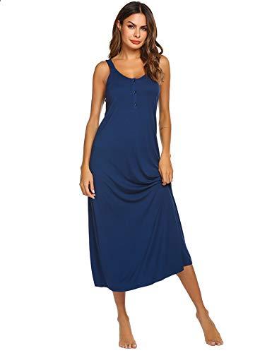 Ekouaer Womens Sleeveless Long Nightgowns Wide Straps Chemise Sleepshirt Loose Tank Sleep Dress (Navy M)