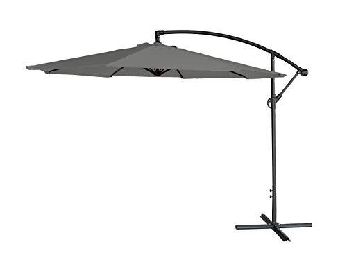 AIRWAVE 3m Freestanding Banana Cantilever Overhanging Garden Parasol Umbrella (Grey)
