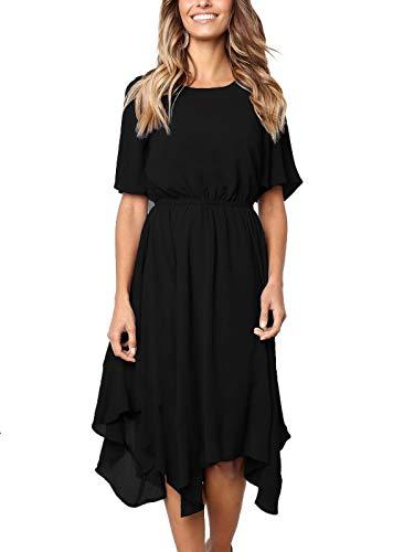 MISSLOOK Women's Short Sleeve Midi Dress Empire Waist Summer Chiffon Dress Round Neck Asymmetrical Irregular Hem Dress - Black XL