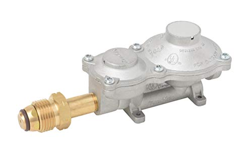 Flame King 2 Stage Propane LP Horizontal Super Compact Regulator with POL for RV, Vans, Trailers,...