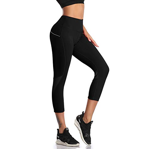 DAYOUNG Women's Bike Tights 3D Padded Leggings Capri Cycling Bicycle Breathable Quick Dry Shorts UPF 50+ Y45-Black-S