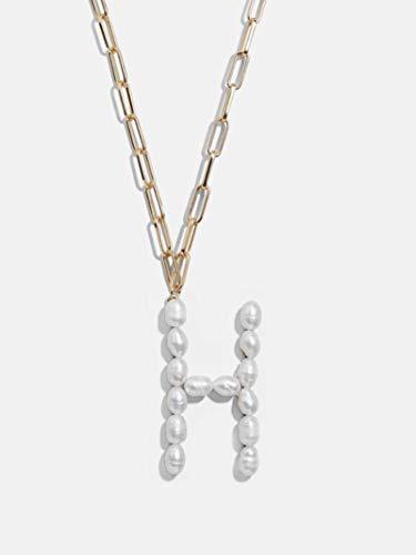 Collar de Cadena Gruesa de 22 Letras con Colgante Inicial de Perlas de Agua Dulce para Mujer, A1099-H