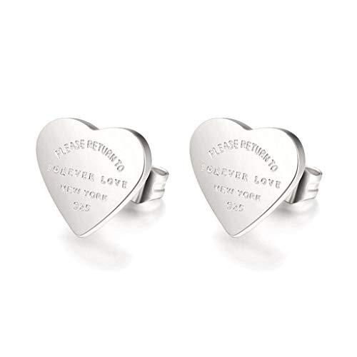Leiouser - Pendientes de tuerca de acero inoxidable con diseño de corazón chapado en oro, para fiestas, bodas, joyería de moda