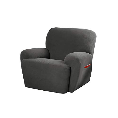 MAYTEX Pixel Ultra Soft Stretch 4 Piece Recliner Arm Furniture Cover Side Pocket, Charcoal Grey Chair Slipcover