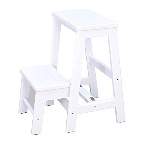 Tritthocker Klappstufen Hockerleiter Holz Hölzerner faltender Treppen-Schemel-Schritt-Schemel für erwachsene Haushalts-Möbel 2 Schritte weiß