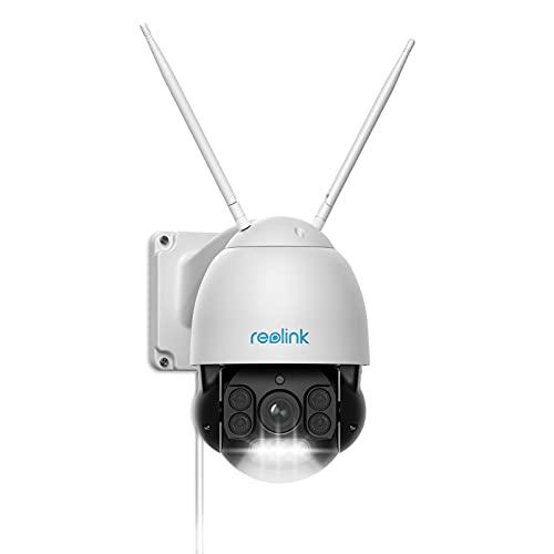 Reolink 5MP Cámara Vigilancia WiFi PTZ Exterior Zoom Óptico 5X, Visión Nocturna en Color 60m, WiFi de 2,4/5 GHz con Detección de Personas/Vehículos, Seguimiento Automático Impermeable IP66, RLC-523WA