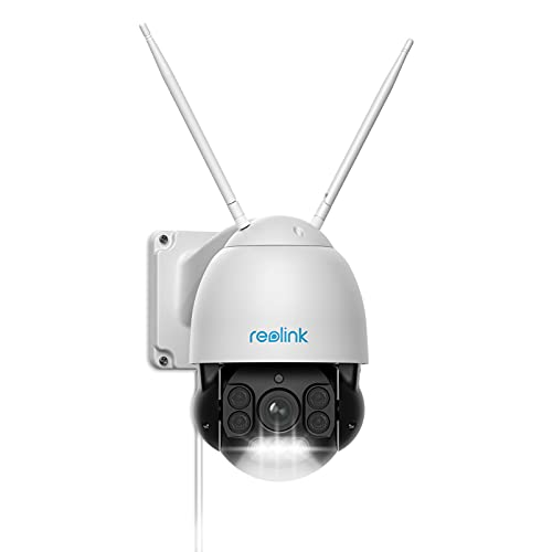 Reolink 5MP PTZ WLAN Kamera Aussen, 5X Optischer Zoom, 60m Vollfarb-Nachtsicht, 2,4/5GHz WLAN Kamera mit Personen-/Fahrzeugerkennung, Auto-Tracking, 360° Ansicht, 2-Wege-Audio, IP66, RLC-523WA