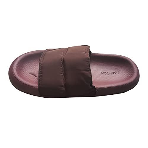 Sandalen Damen Lässige Stilvoller Beliebte Stile Hausschuhe Sommer Neue Frauen Zuhause Slipper Einfach Einfarbige All-Match Walkingschuhe Bequeme Gummi Weicher Boden Pantoffel