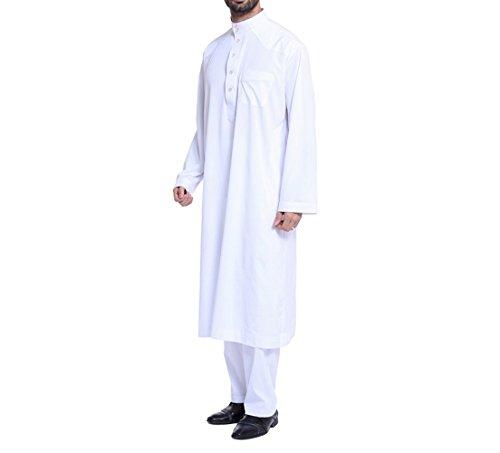 zhxinashu Homme Musulman à Manches Longues Thobe Loose Caftan Dubaï Vêtements avec Pantalons,Blanc,M