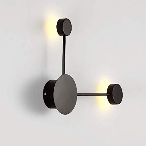 YLLN Nordic Modern Creative Wall Light, Led 8w Lámpara de Pared Redonda Aplique de Pared Apliques de luz Nocturna para mesita de Noche Pasillo Dormitorio-Negro 2 Luces Blanco cálido