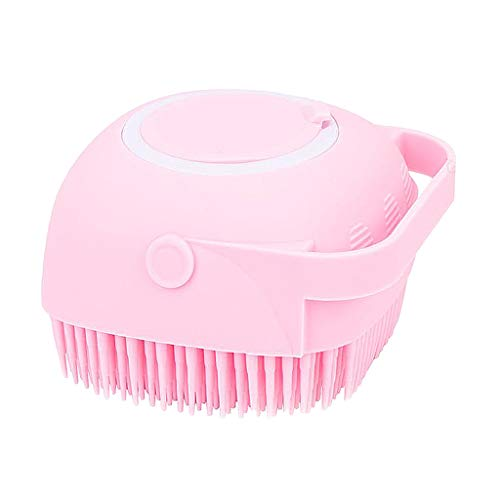 #N/A Silicone Body Scrubber, 2 in 1 Bath, Shampoo Body Lotion Dispenser Brush Silicone Bath Body Brush with Soft Brush Head Skin Exfoliation and Massaging - Pink