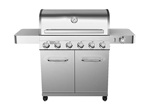 Monument Grills 77352 6-Burner Stainless Steel Propane Gas Grill with LED Controls, Side Burner, Built in Thermometer, and Rotisserie Kit