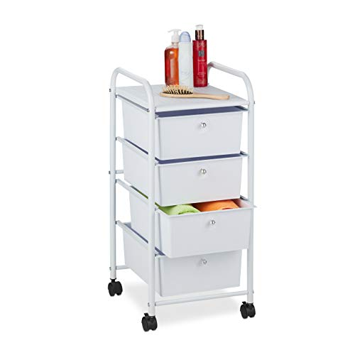 Relaxdays Badrollwagen, 4 Schubladen, Metall & Kunststoff, Rollcontainer Bad, Kosmetik, HBT: 74 x 33 x 39 cm, weiß