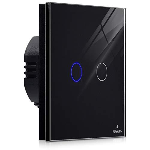 Navaris 2-fach Touch Lichtschalter Wandschalter - mit Montagematerial Glas Panel und Status-LED - Licht Schalter innen außen - Einbauschalter Schwarz