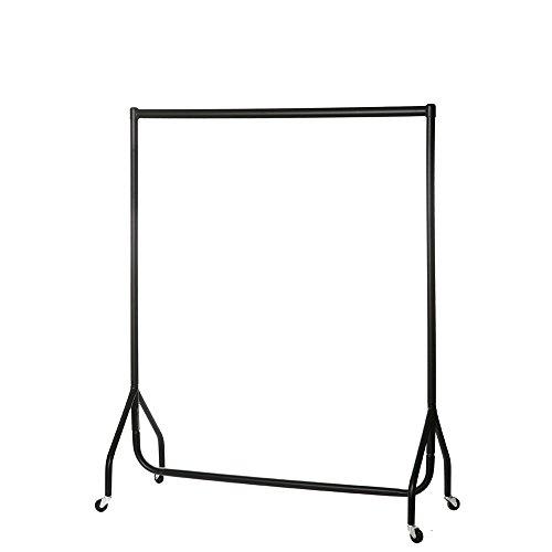 Shopfitting Warehouse Stabiler, Großer Kleiderständer, Garderobenständer – Robuste 122cm Lange Profi-Kleiderstange komplett aus Stahl in Schwarz