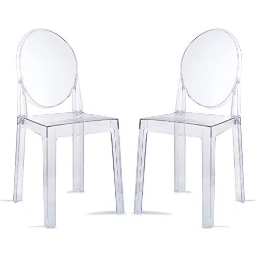 Ghost Chair 2PCS Sedie da pranzo Sedia da trucco trasparente, Sedia da pranzo stile fantasma, Sedia moderna - Rimovibile e impilabile (trasparente, 2 pezzi)
