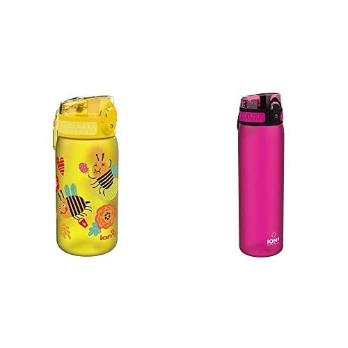 Ion8 Niños Botella Agua, Sin Fugas, Abejas, 400Ml + Botella Agua, Sin Fugas, Sin Bpa, 500Ml, Rosado