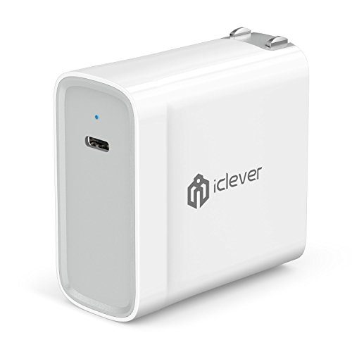 iClever 45W USB Type C Power Delivery Wall Charger, PD Adapter with Foldable Plug for Apple MacBook 2015/2016, Nintendo Switch, iPhone 11 Pro/XS/XS Max/XR/X/8, Pixel C, Samsung S8/Notebook and More