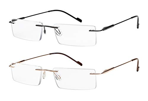 Reading Glasses 2 Pair Rimless Ultra Lightweight Readers for Men and Women +1.5