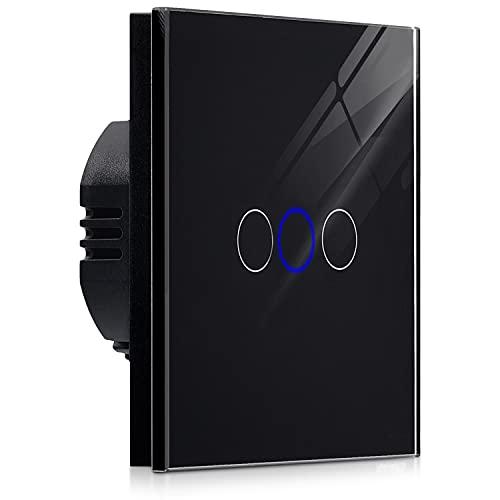 Navaris 3-fach Touch Lichtschalter Wandschalter - mit Montagematerial Glas Panel und Status-LED - Licht Schalter innen außen - Einbauschalter Schwarz